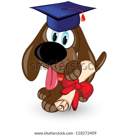 Raster version. Cartoon dog is a graduate of. Illustration on white background. - stock photo