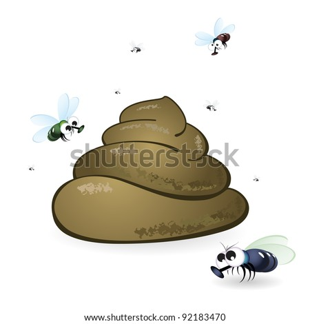 Raster version. Cartoon feces and flies. Illustration on white background - stock photo