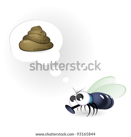 Raster version. Cartoon Funny Fly. Illustration on white background - stock photo