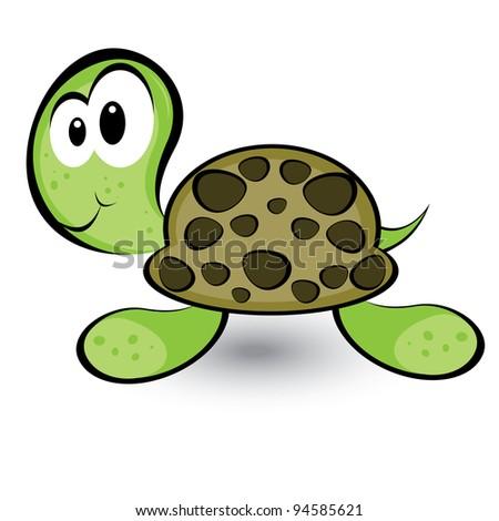 Raster version. Cartoon gay turtle. Illustration on white background for design - stock photo