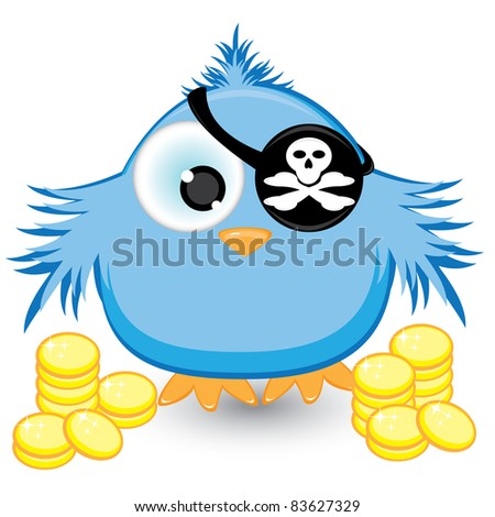 Raster version. Cartoon pirate sparrow with gold coins. Illustration on white background - stock photo