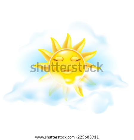 Raster version. Cartoon sun. Set of ninth. See other works in my portfolio  - stock photo