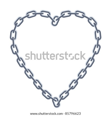 Raster version. Chain silver heart. Illustration on white background