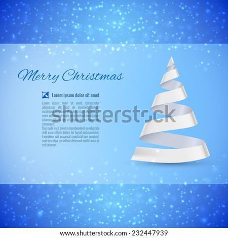 Raster version. Christmas greeting card with white ribbon Christmas tree over sparkling background  - stock photo