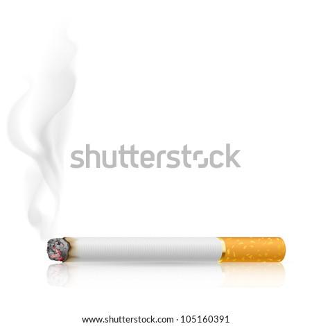 Raster version. Cigarette burns. Illustration on white background. - stock photo