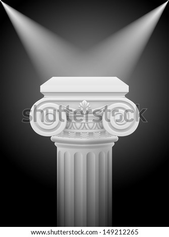 Raster version. Classic ionic column with lights sources. Illustration on black - stock photo