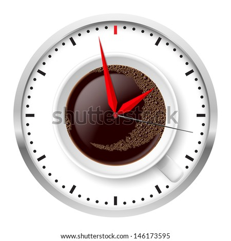 Raster version. Clock and coffee cup. Illustration on white. - stock photo