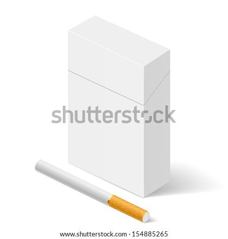 Raster version. Closed full pack of cigarettes. Illustration on white background for design - stock photo
