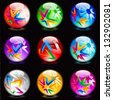 Raster version. Collection of colorful glossy spheres isolated on black. Set #14. - stock photo