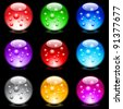 Raster version. Collection of colorful glossy spheres isolated on black. Set #9. - stock photo