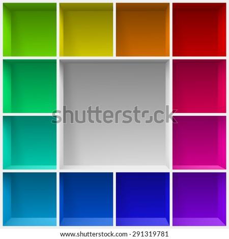 Raster version. Colored bookshelves. Illustration for creative design template - stock photo