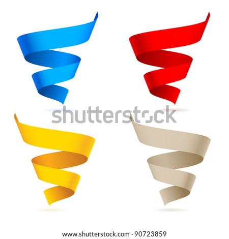 Raster version. Colored ribbons. Illustration on white background for design - stock photo