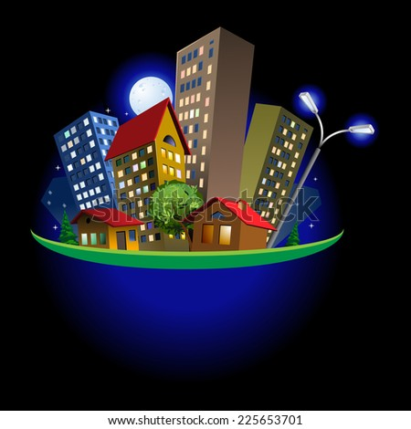 Raster version. Colorful abstract cute cartoon  city at night illustration on dark background.  - stock photo
