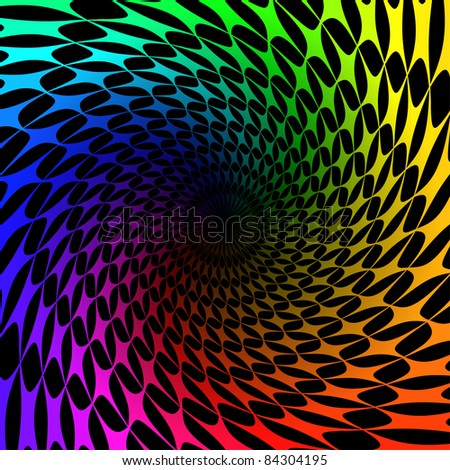 Raster version. Colorful background with spectrum swirl.  illustration on black - stock photo