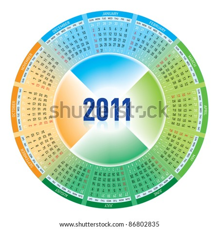 Raster version. Colorful calendar for 2011. rotating design. - stock photo