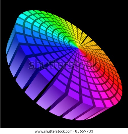 Raster version. Colorful Graphic Equalizer. Circle in space. Illustration on black. - stock photo