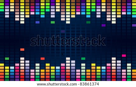 Raster version. Colorful Graphic Equalizer Display for title page design. - stock photo