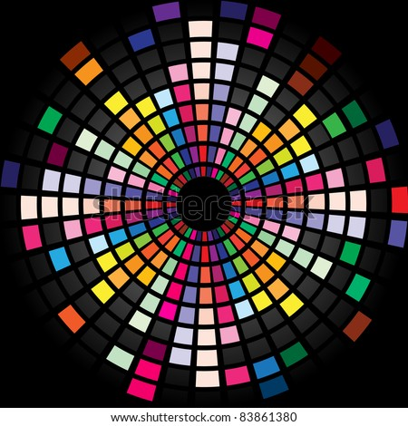 Raster version. Colorful Graphic Equalizer Display for title page design. Circle. - stock photo