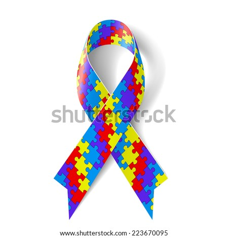 Raster version. Colorful puzzle ribbon as symbol autism awareness  - stock photo