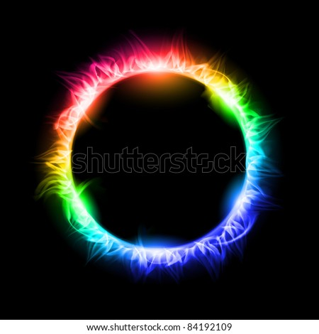 Raster version. Colorful Solar eclipse. Illustration on black background for design - stock photo