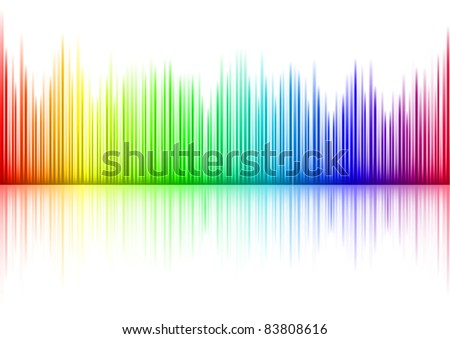 Raster version. Colorful Sound waveform (editable ) on white - stock photo
