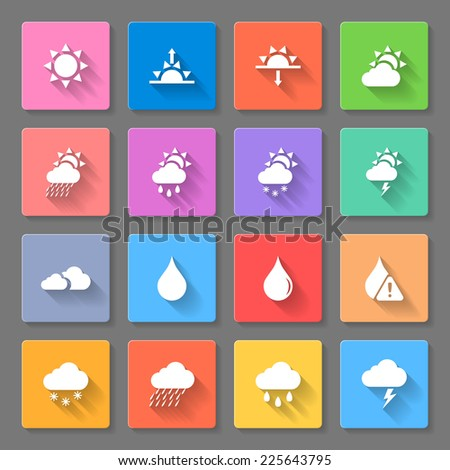 Raster version. Colorful weather icons set with sun,clouds,rain drops and snow,using to describe weather  - stock photo