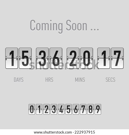 Raster version. Coming soon text with days and hours countdown in flip font over grey  - stock photo
