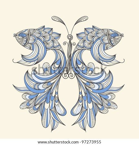 raster version,  concept butterfly with wings - fishes, fishes can be used separately - stock photo