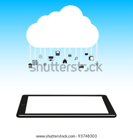 raster version. Concept cloud with computer tablet. - stock photo