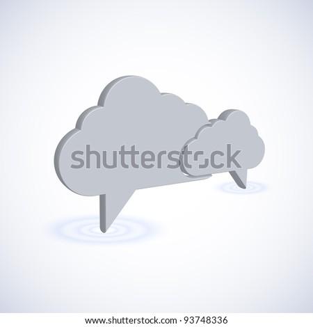 raster version. concept computer cloud with bubble speech. 3d illustration - stock photo