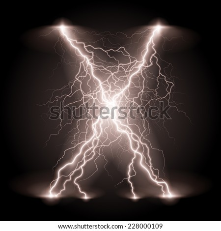 Raster version. Criss-cross lines of branchy bright white lightning.  - stock photo
