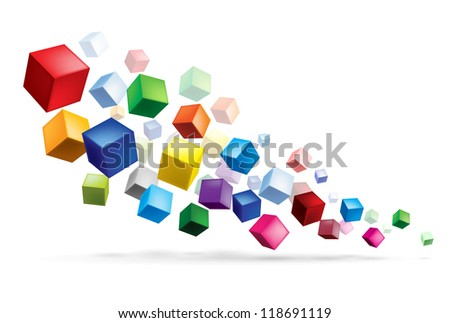 Raster version. Cubes in various combinations. Abstract illustration for design - stock photo