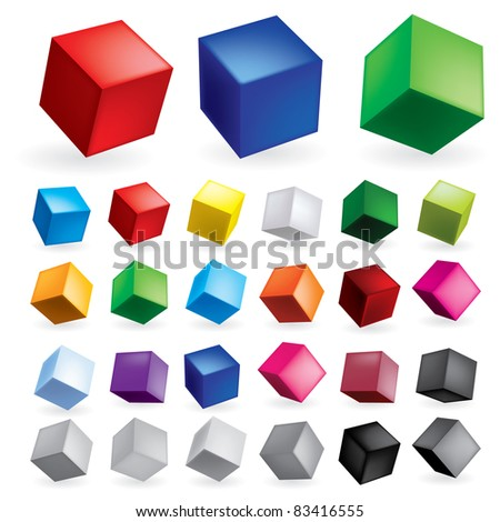 Raster version. Cubes in various combinations of position for training - stock photo