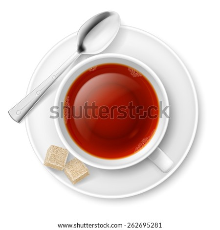 Raster version. Cup of black tea with spoon and brown lump sugar