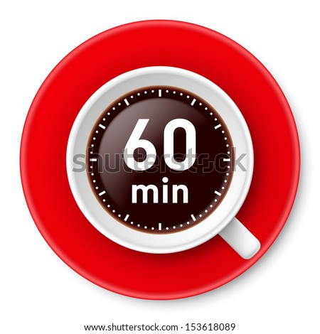 Raster version. Cup of coffee with time limit for break: one hour. Illustration on white background. - stock photo