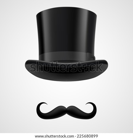 Raster version. Curly retro moustaches and stovepipe top hat elements. funny victorian gentleman on grey bacground  - stock photo
