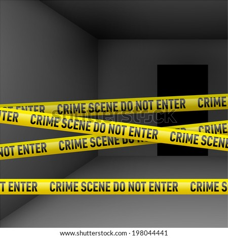 Raster version. Dark room  with police danger tape. Crime or emergency scene