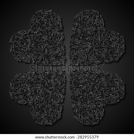 Raster version. Decorative four hearts of the rich black ornament - stock photo