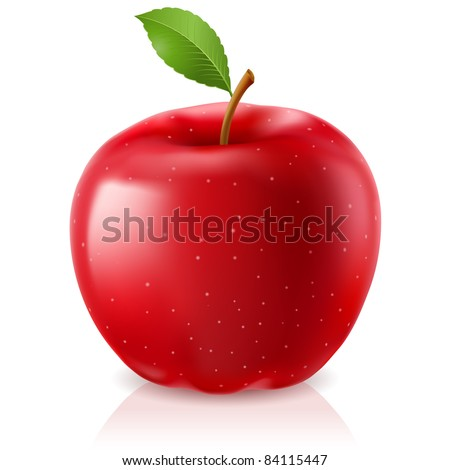 Raster version. Delicious red apple. Illustration on white background - stock photo