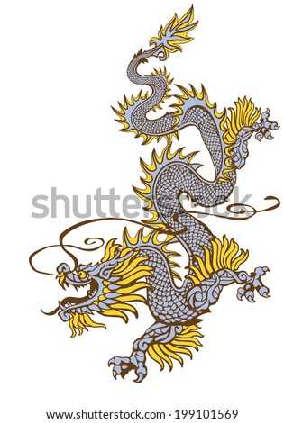 Raster version / Descending oriental dragon in three colors on white background - stock photo
