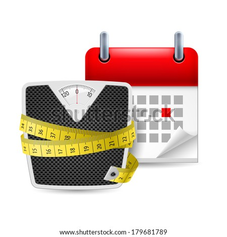 Raster version. Diet time icon: bathroom scales with measure tape and calendar with marked day - stock photo