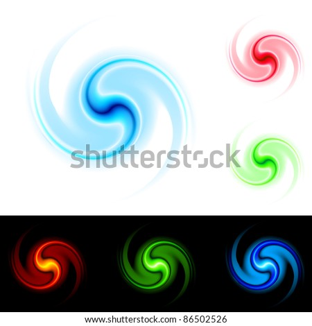 Raster version. Different colors vortex. Illustration on white and black background for design.