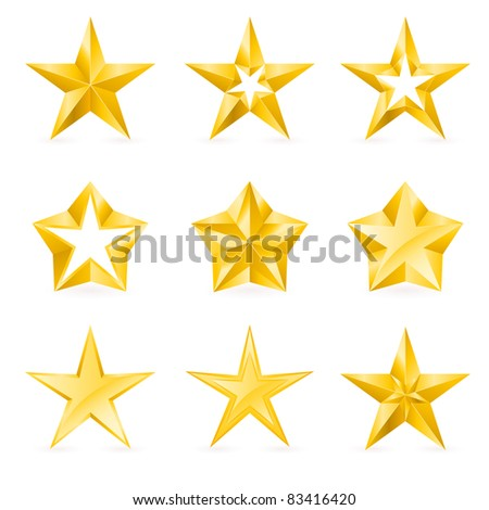 Raster version. Different types and forms of gold stars. Illustration for design on white background