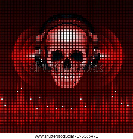 Raster version. Disco background with skull in headphones, equalizer in red shades. LED style display - stock photo