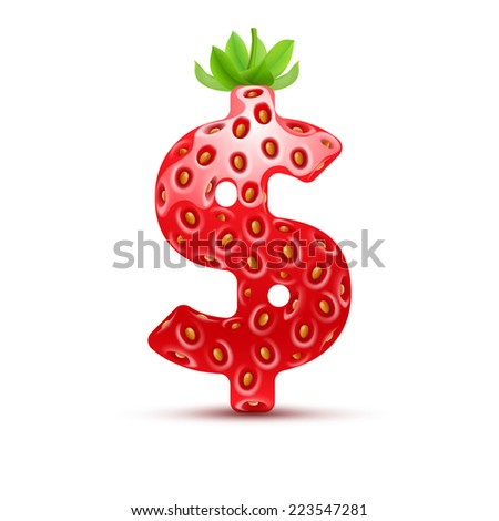 Raster version. Dollar symbol in strawberry style with green leaves  - stock photo
