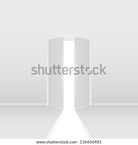 Raster version. Double open door. Illustration on white background for creative design - stock photo