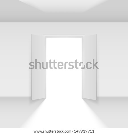 Raster version. Double open door with light. Illustration on empty background - stock photo