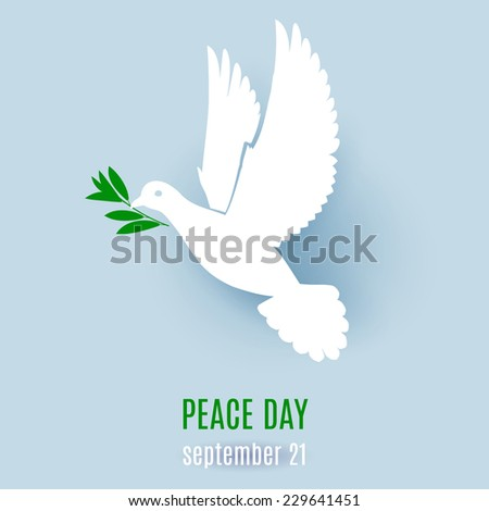 Raster version. Dove of peace flying with a green twig. Illustration for design  - stock photo