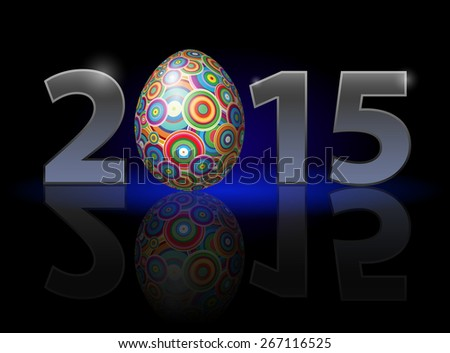 Raster version. Easter holiday in 2015: metal numerals with colorful egg instead of zero having weak reflection. Illustration on black background. - stock photo
