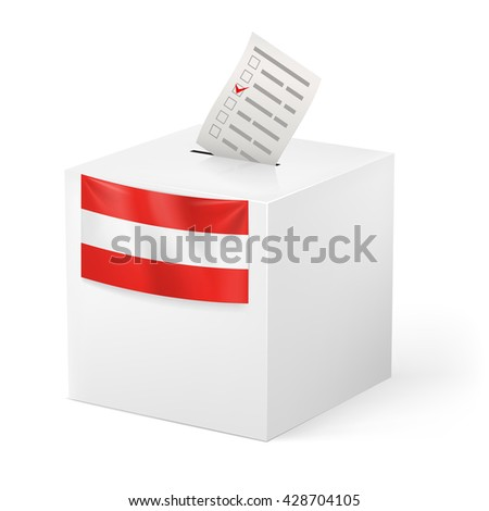 Raster version. Election in Austria: ballot box with voting paper on white background - stock photo